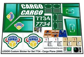 Precut Custom Replacement Stickers for Lego Set 7734 - Cargo Plane (2008)