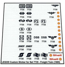 Precut Custom Replacement Stickers for Lego Set 7735 - Freight Train (1985)