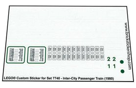 Precut Custom Replacement Stickers for Lego Set 7740 - Inter-City Passenger Train (1980)