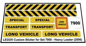 Precut Custom Replacement Stickers for Lego Set 7900 - Heavy Loader (2006)