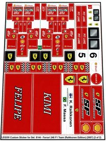 Precut Custom Replacement Stickers for Lego Set 8144 - Ferrari 248 F1 Team (Raikkonen Edition) (2007)