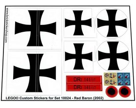 Precut Custom Replacement Stickers for Lego Set 10024 - Red Baron (2002)