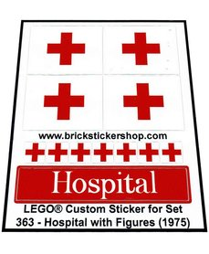 Precut Custom Replacement Stickers voor Lego Set 363 - Hospital with Figures (1975)