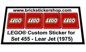 Precut Custom Replacement Stickers voor Lego Set 455 - Lear Jet (1975)