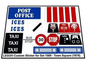 Precut Custom Replacement Stickers voor Lego Set 1589 - Town Square (1978)