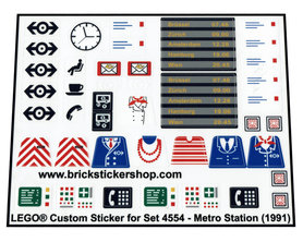 Precut Custom Replacement Stickers for Lego Set 4554 - Metro Station (1991)