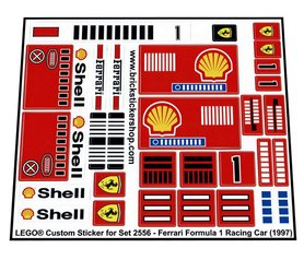 Precut Custom Replacement Stickers for Lego Set 2556 - Ferrari Formula 1 Racing Car (1997)