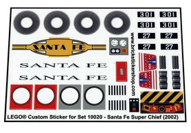 Precut Custom Replacement Stickers for Lego Set 10020 - Santa Fe Super Chief (2002)