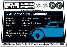 Precut Custom Replacement Stickers for Lego Set 10187 - Volkswagen Beetle (VW Beetle) (2008)