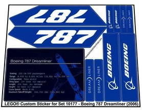Precut Custom Replacement Stickers for Lego Set 10177 - Boeing 787 Dreamliner (2006)