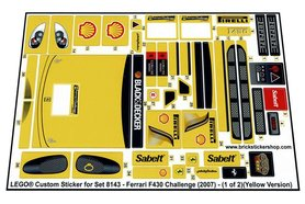 Precut Custom Replacement Stickers for Lego Set 8143 - Ferrari F430 Challenge (2007)