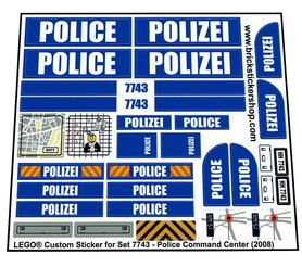 Precut Custom Replacement Stickers for Lego Set 7743 - Police Command Center (2008)