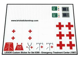 Precut Custom Replacement Stickers for Lego Set 6380 - Emergency Treatment Center (1987)