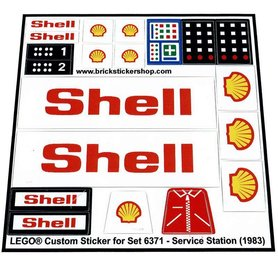 Precut Custom Replacement Stickers for Lego Set 6371 - Service Station (1983)