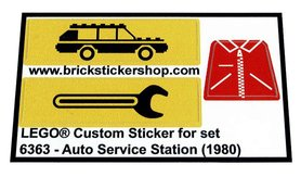 Precut Custom Replacement Stickers for Lego Set 6363 - Auto Service Station (1980)