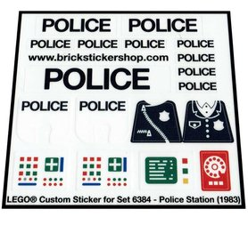 Precut Custom Replacement Stickers for Lego Set 6384 - Police Station (1983)