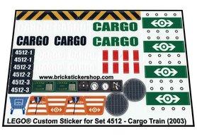 Precut Custom Replacement Stickers for Lego Set 4512 - Cargo Train (2003)