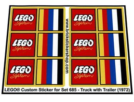 Precut Custom Replacement Stickers voor Lego Set 685 - Truck with Trailer (1972)