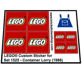 Precut Custom Replacement Stickers voor Lego Set 1525 - Container Lorry (1986)