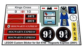 Precut Custom Replacement Stickers for Lego Set 4708 - Hogwarts Express (2001)