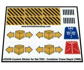 Precut Custom Replacement Stickers for Lego Set 7823 - Container Crane Depot (1986)