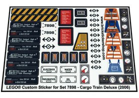Precut Custom Replacement Stickers for Lego Set 7898 - Cargo Train Deluxe (2006)