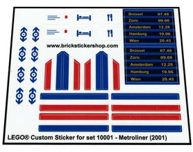 Precut Custom Replacement Stickers for Lego Set 10001 - Metroliner (2001)