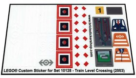 Precut Custom Replacement Stickers for Lego Set 10128 - Train Level Crossing (2003)
