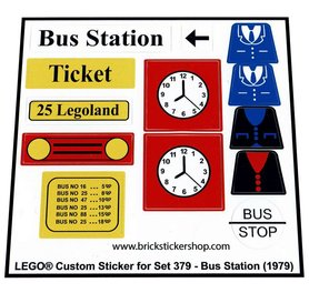 Precut Custom Replacement Stickers for Lego Set 379 - Bus Station (1979)