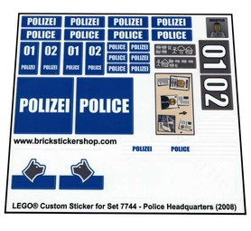 Precut Custom Replacement Stickers for Lego Set 7744 - Police Headquarters (2008)