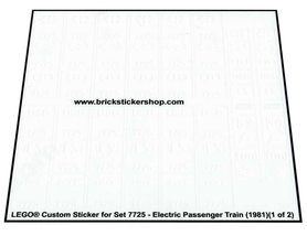 Precut Custom Replacement Stickers for Lego Set 7725 - Electric Passenger Train (1981)