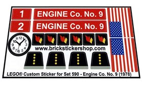 Precut Custom Replacement Stickers for Lego Set 590 - Engine Co. No. 9 (1978)