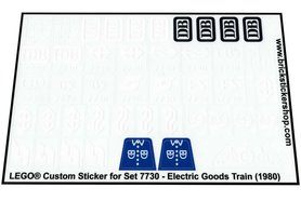 Precut Custom Replacement Stickers for Lego Set 7730 - Electric Goods Train (1980)