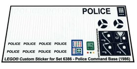 Precut Custom Replacement Stickers for Lego Set 6386 - Police Command Base (1986)