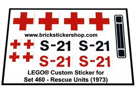 Precut Custom Replacement Stickers voor Lego Set 460 - Rescue Units (1973)