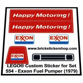 Precut Custom Replacement Stickers voor Lego Set 554 - Exxon Fuel Pumper (1979)