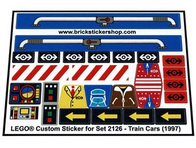 Precut Custom Replacement Stickers for Lego Set 2126 - Train Cars (1997)