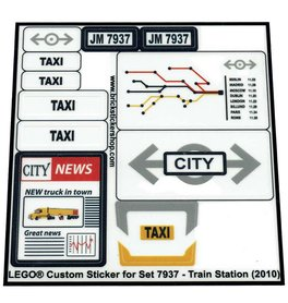 Precut Custom Replacement Stickers for Lego Set 7937 - Train Station (2010)