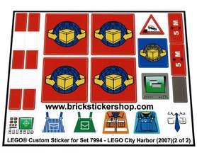 Precut Custom Replacement Stickers for Lego Set 7994 - LEGO City Harbor (2007)