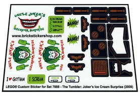 Precut Custom Replacement Stickers for Lego Set 7888 - The Tumbler - Joker's Ice Cream Surprise (2008)