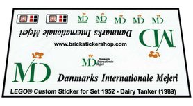 Precut Custom Replacement Stickers for Lego Set 1952 - Dairy Tanker (1989)