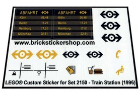 Precut Custom Replacement Stickers for Lego Set 2150 - Train Station (1996)