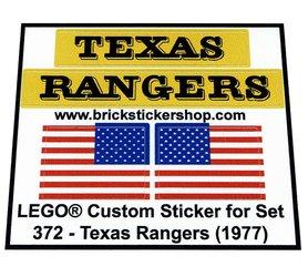 Precut Custom Replacement Stickers for Lego Set 372 - Texas Rangers (1977)