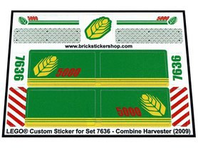 Precut Custom Replacement Stickers for Lego Set 7636 - Combine Harvester (2009)