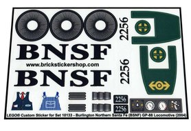 Precut Custom Replacement Stickers for Lego Set 10133 - Burlington Northern Santa Fe (BNSF) GP-38 Locomotive (2004)