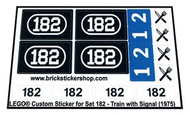 Precut Custom Replacement Stickers for Lego Set 182 - Train with Signal (1975)