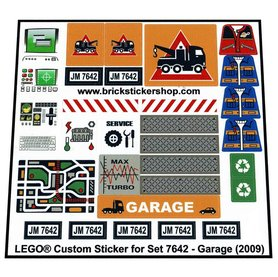 Precut Custom Replacement Stickers for Lego Set 7642 - Garage (2009)