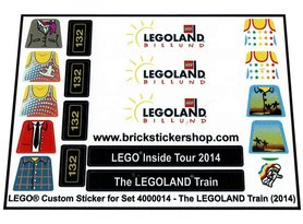 Precut Custom Replacement Stickers for Lego Set 4000014 - The Legoland Train (2014)