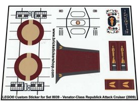 Precut Custom Replacement Stickers for Lego 8039 - Venator-Class Republic Attack Cruiser (2009)