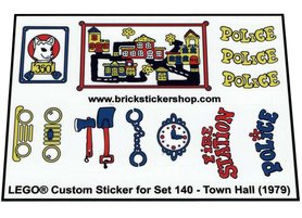 Precut Custom Replacement Stickers for Lego Set 140 - Town Hall (1979)